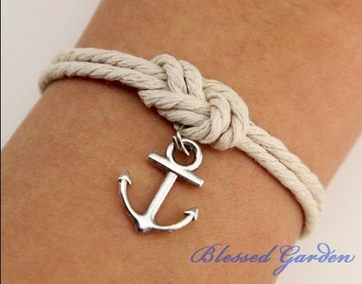 Infinity Knot Rope Bracelet With A Cute Anchor Charm