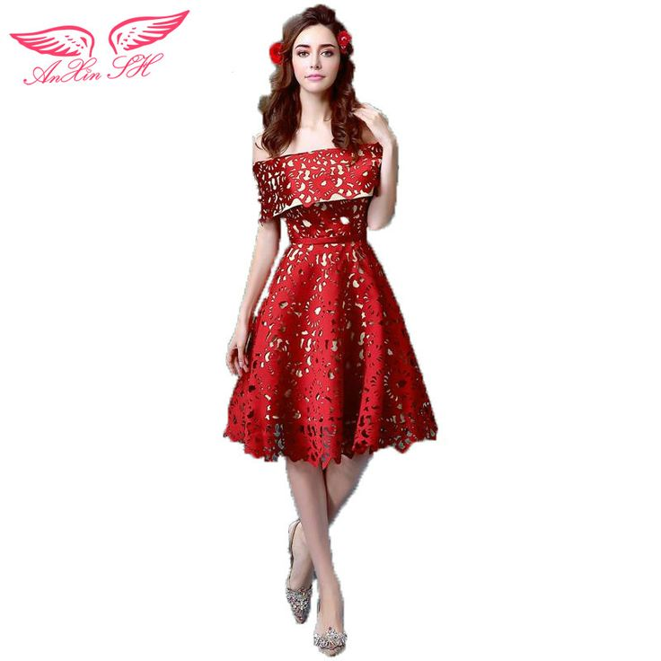AnXin SH The bride evening dress red short dinner princess evening dress will be the new 0226  #Affiliate