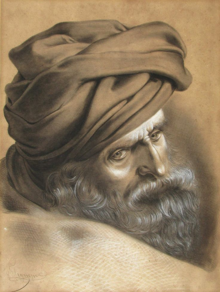ANTIQUE 19thC FRENCH SCHOOL, STUDY OF A BEARDED MAN WEARING A TURBAN, SIGNED