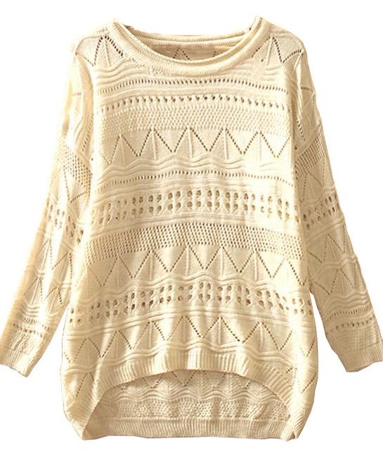 Beige Geometric Eyelet Embellished Knit Jumper Sweater