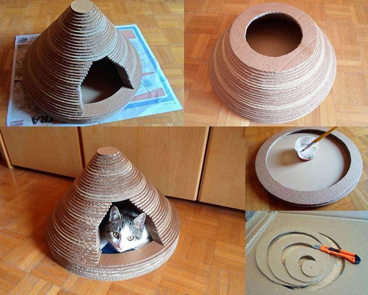 Dal #RicicloCreativo del #cartone una cuccia per il vostro micio  SEGUICI SU: www.facebook.com/CreoEco www.pinterest.com/CreoEco