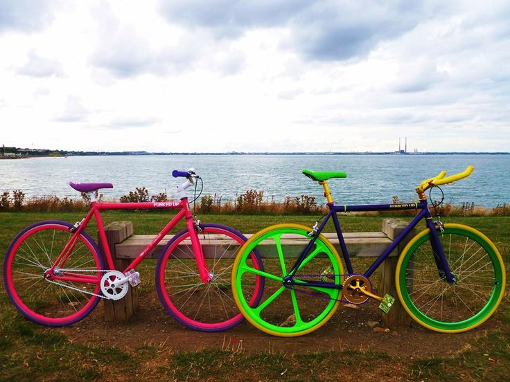 Gwen and Scott shared their his and hers, purple and pink FunkedUp bikes with us from our home town in Dublin.
