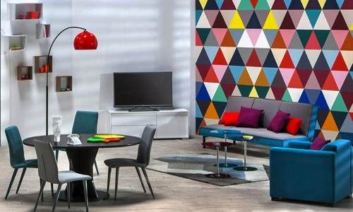 Salon pop couleur meubles but projet pinterest pop for Couleur tendance deco salon