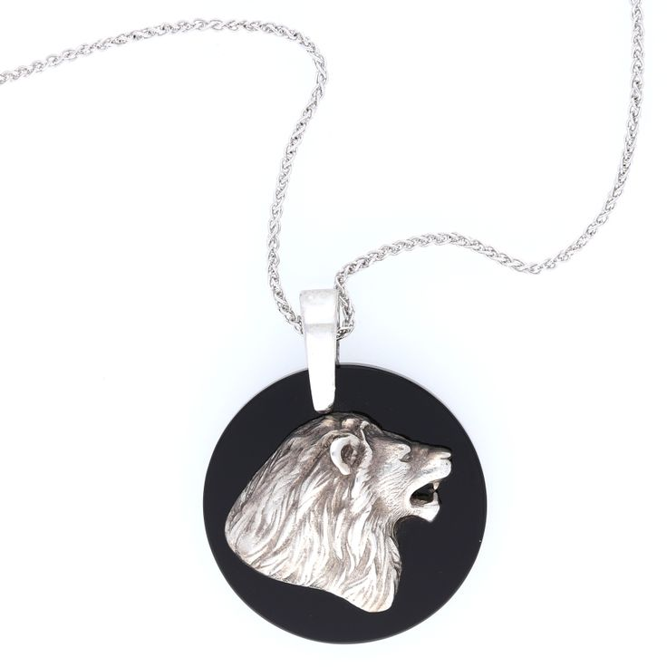 Silver Africa Inspired Lion Head Pendant with Onyx    www.uwekoetter.com