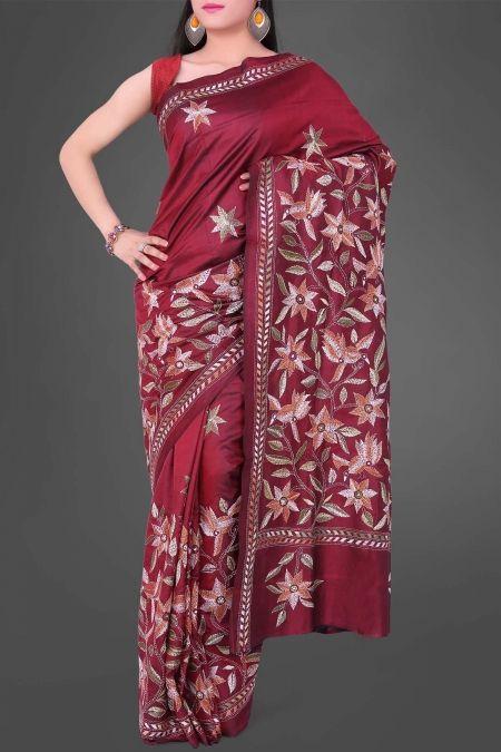 Maroon Kantha Soft Silk Saree