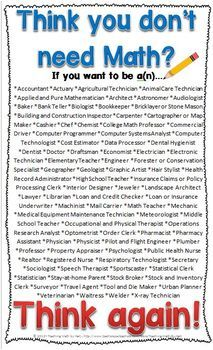 Think you don't need #Math? FREE poster A must-have for the math classroom!!