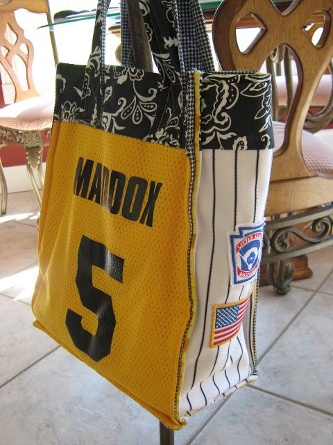 SO awesome - Baseball Mom's bag made from old jerseys - need to do this for the girls w/ their old jerseys!