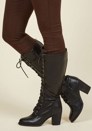 Picking Up Steampunk Boot in Ink - Black, Solid, Work, Girls Night Out, Minimal, Fall, Better, Lace Up, Chunky heel, Calf, Variation, Black, Black, Mid, Faux Leather