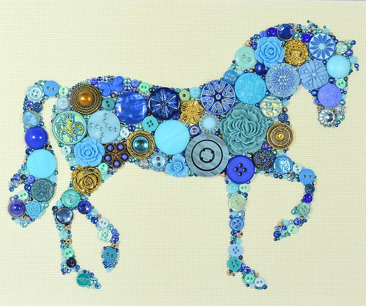 MADE TO ORDER Button Art Button Horse by PaintedWithButtons