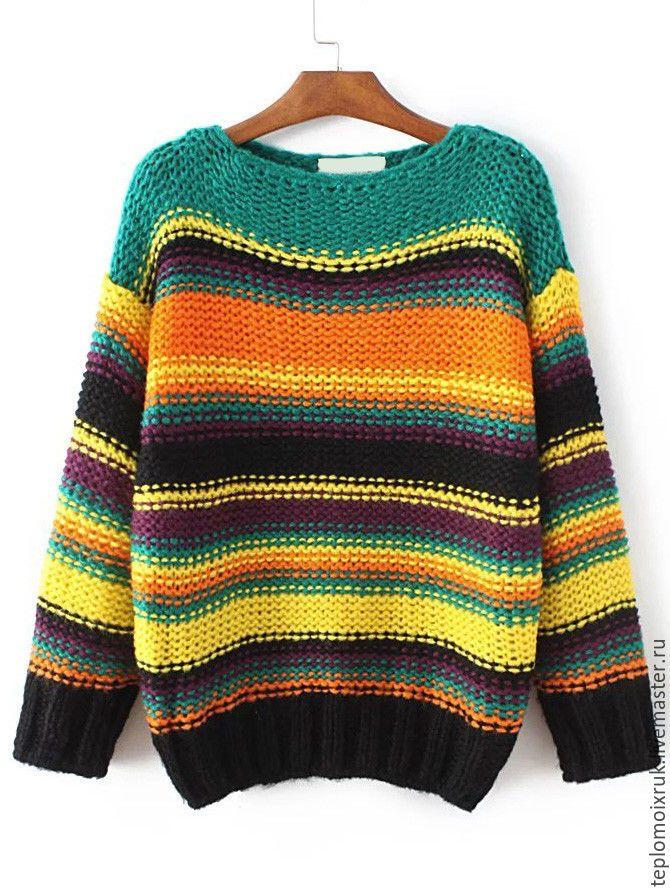 """Купить Свитер """" Городской стиль """" - комбинированный, свитер, разноцветный, в полоску, вязаный, спицами"""