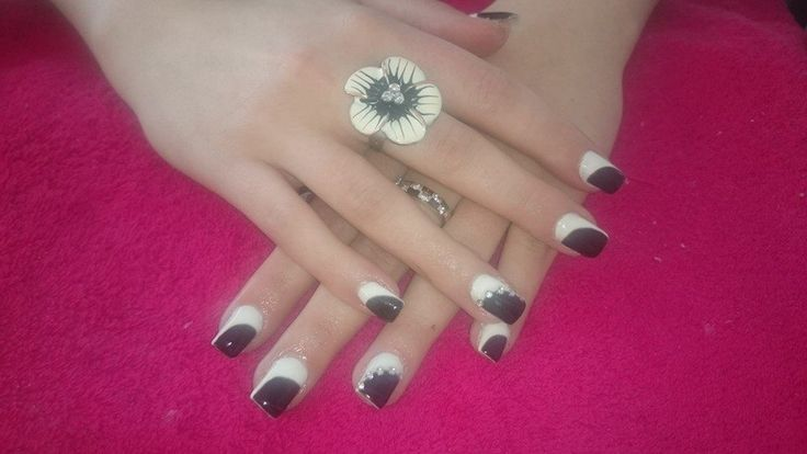 Black and white nail art.
