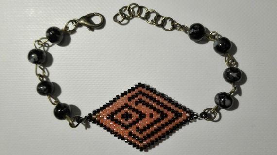 Bracelet bronze tissé en losange -perles miyuki  rose- cuivré-noir