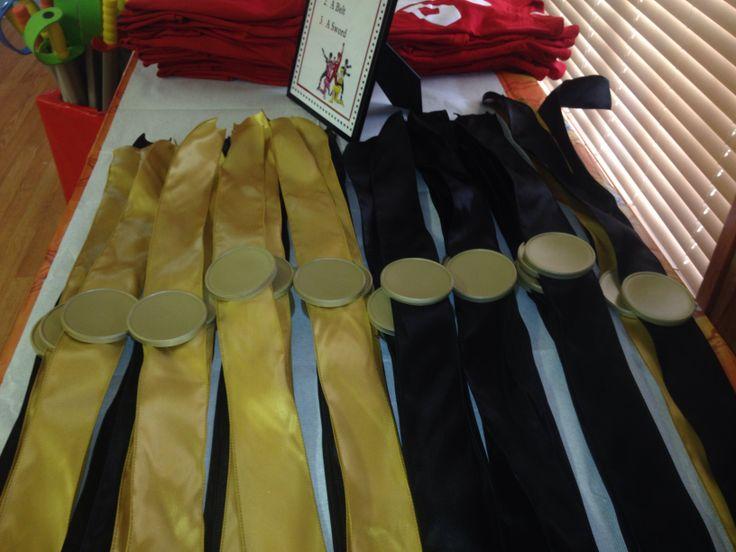 Power Ranger birthday party belts