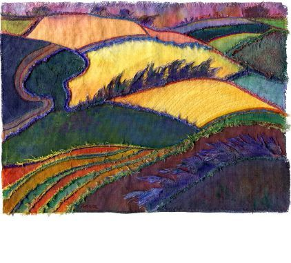 """""""Combe Bissett Down 1"""" by Margaret M. Roberts Textiles / acrylics / mixed media   30cm by 23cm"""