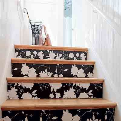 Wallpaper the stairs (or ceiling) #diy
