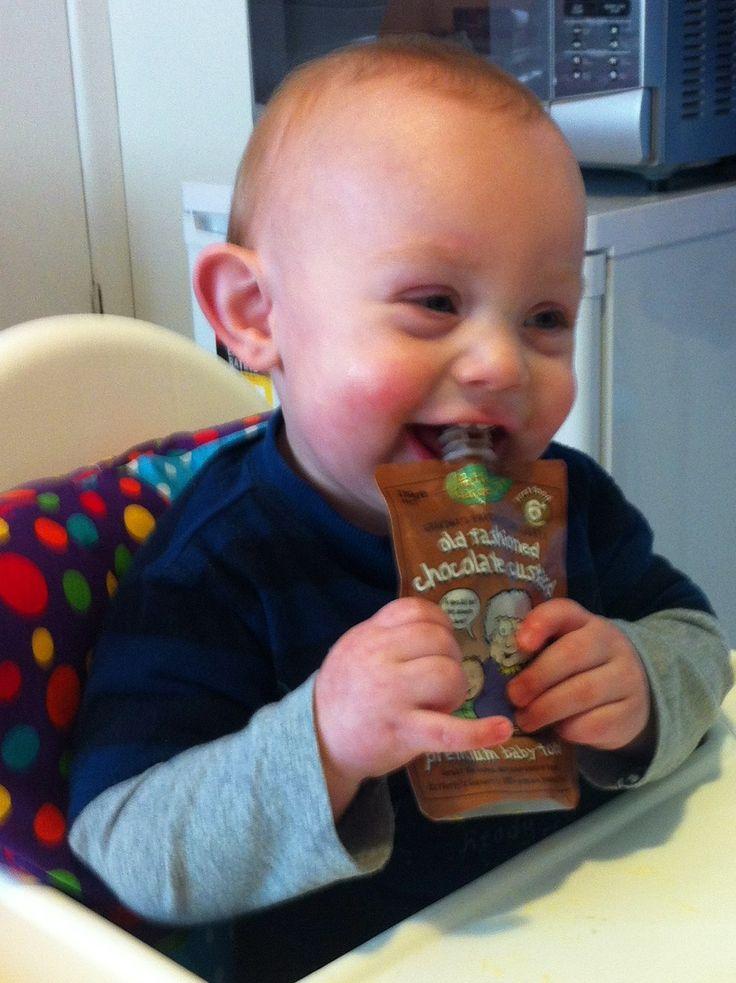 Mister Jai loves his Rafferty's Garden Old Fashioned Chocolate Custard. A yummy treat for all ages.    #Baby #BabyFood #ChocolateCustard