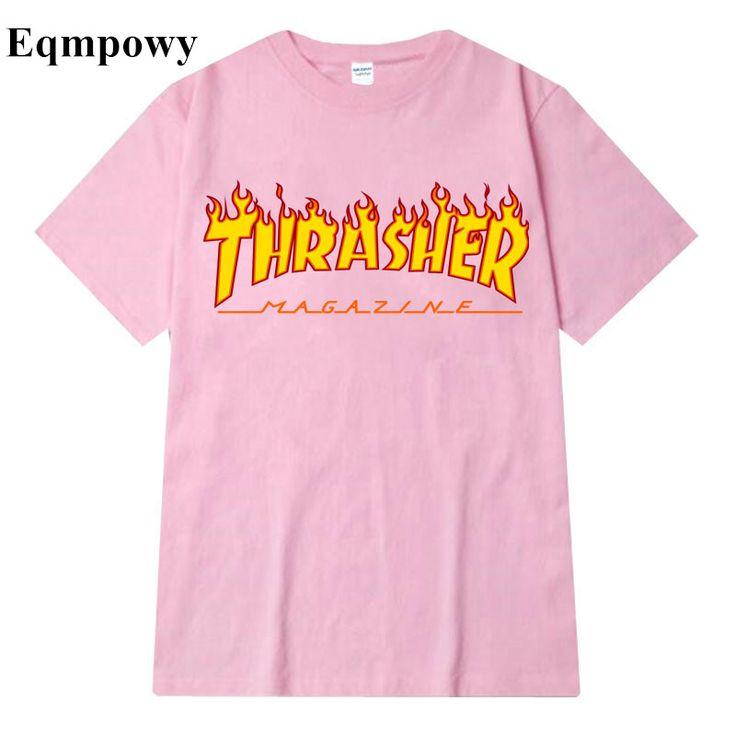 Eqmpowy Men Hip hop Thrasher T Shirt Fashion New Men skateboards skate T-shirts Short Sleeve T shirt homme Man trasher T Shirt