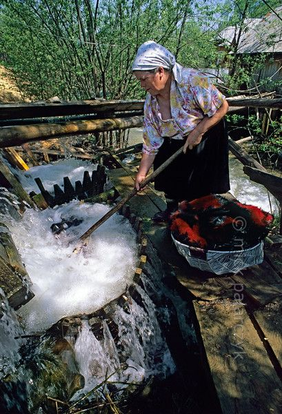 In Botiza a woman cleans her carpets and blankets in the 'busnita' of a watermill, a kind of whirlpool washing-device consisting of conical placed wooden planks which capture the water-jet of a mill stream.(See also next picture.) Photo Mick Palarczyk.