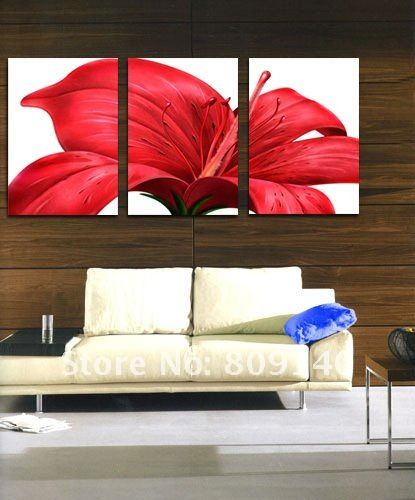 flower paintings on canvas | free shipping painting Red Flower modern oil painting on canvas high ...