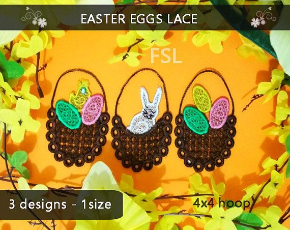 Easter Eggs lace design No.305  FSL  4x4 hoop  by EmbroideryRady