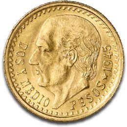 Moneda de oro 2,5 pesos Mexicanos., Tienda Numismatica y Filatelia Lopez, compra venta de monedas oro y plata, sellos españa, accesorios Leu...