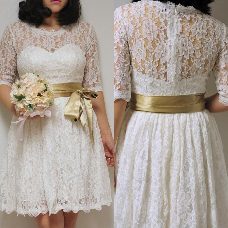 Patricia-Custom Short Lace Wedding Dress with short sleeves-City Country Beach Bride. $500.00, via Etsy.