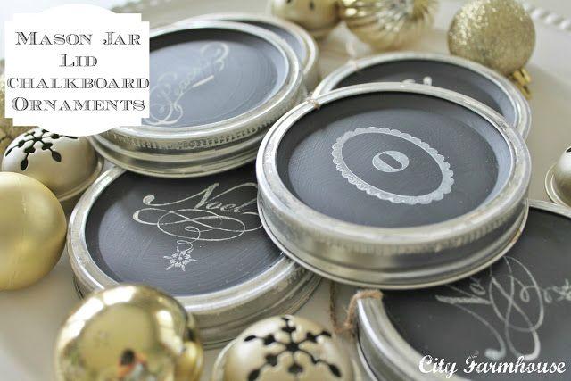 City Farmhouse: Mason Jar Chalkboard Lid Ornaments-Recycled Christmas Project #7