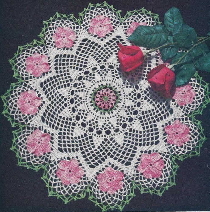 Vintage Crochet PATTERN Wild Rose Flower Doily Motif - Doilies