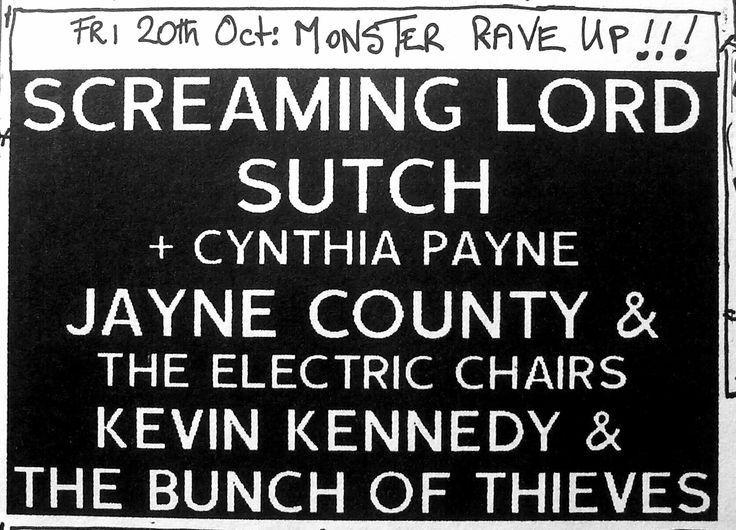 Screaming Lord Sutch, Jayne County & The Electric Chairs,Kevin Kennedy & The Bunch Of Thieves. The Plough Kenton UK 20/10/89.