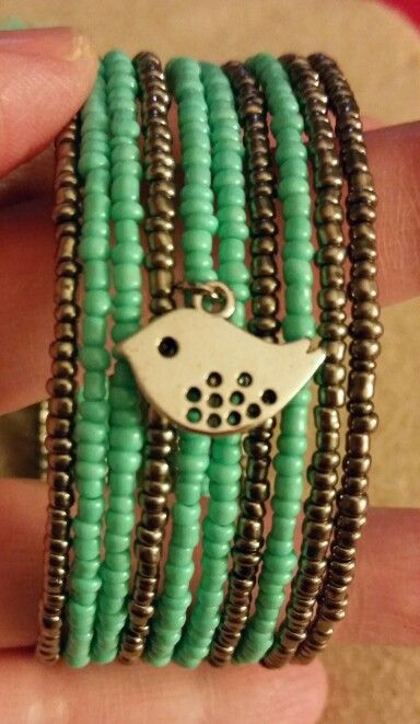 Turquoise and gun metal seed bead memory wire bracelet