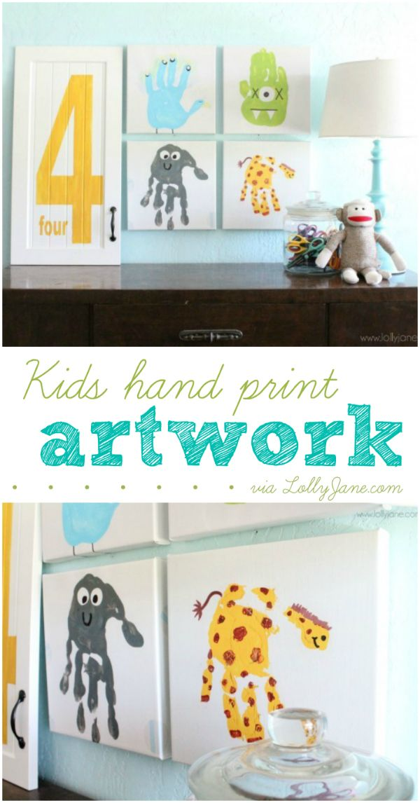 Easy kids hand print artwork, great idea to preserve their cute hand prints for years to come!   |via lollyjane.com