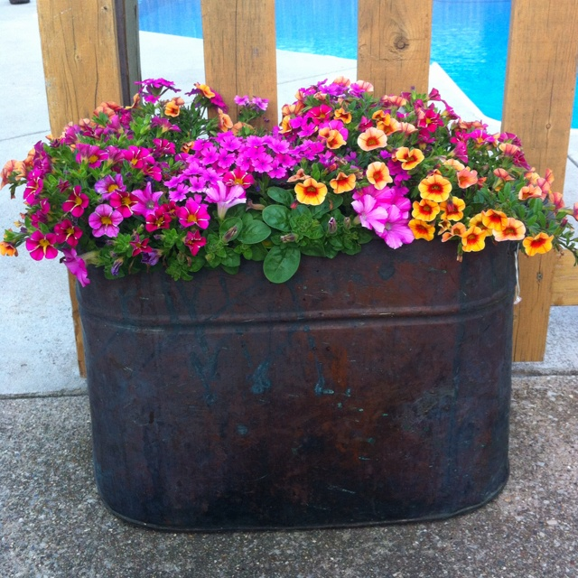 Old copper boiler tubs and uses pinterest buckets for How to decorate a bucket
