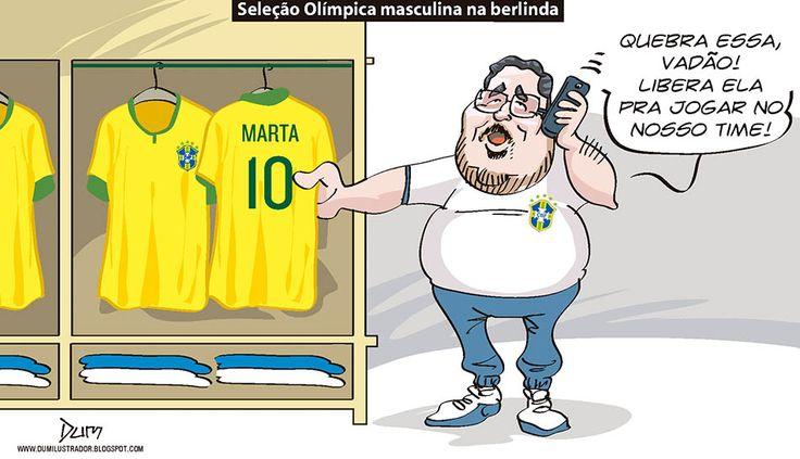 Charge do Dum (Zona do Agrião) sobre baixa da #SeleçãoBrasileira de futebol masculino nos #JogosOlímpicos e a alta da seleção femini na (10/08/2016). #Charge #Dum #Brasil #Rio2016 #Olimpíada #Marta #Neymar #Micale #HojeEmDia