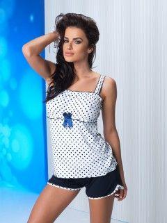Piżama Julia 1/2 White-Navy Blue