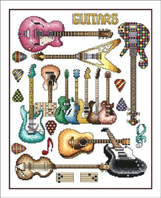 Vickery Collection Guitars - Cross Stitch Pattern. Model stitched on 16 Ct. White Aida with DMC floss. Stitch Count: 160x200.