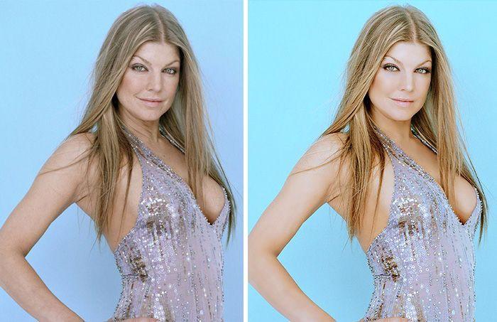 Celebridades antes e depois do Photoshop aparentando padrões de beleza…