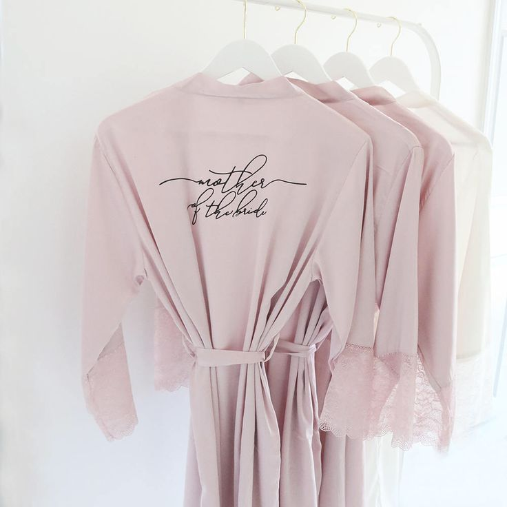 Satin and Lace Bridal Robes - Mother of the Bride Custom Gift White Teal Black Blush Mauve Satin Bridal Party Robes Bridesmaid Robes Lace by ThreeTwo1 on Etsy https://www.etsy.com/listing/552259578/satin-and-lace-bridal-robes-mother-of