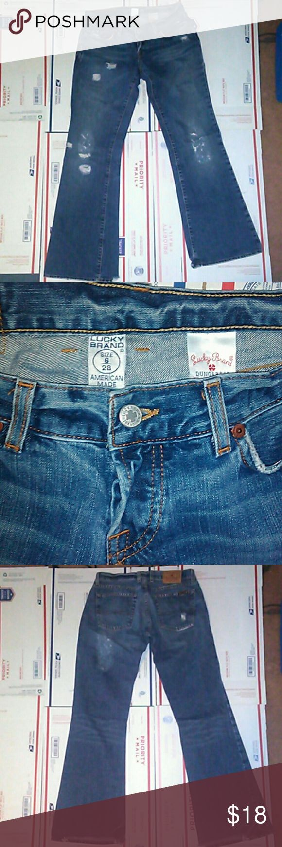 Lucky brand womens bootcut jeans-28w 30L Lucky brand women's bootcut jeans size 28 waste 30 length , worn to a comfortable relaxed fit, distressed with holes and Freys, tearing around the back, still alot of life left in them! Lucky Brand Jeans Boot Cut