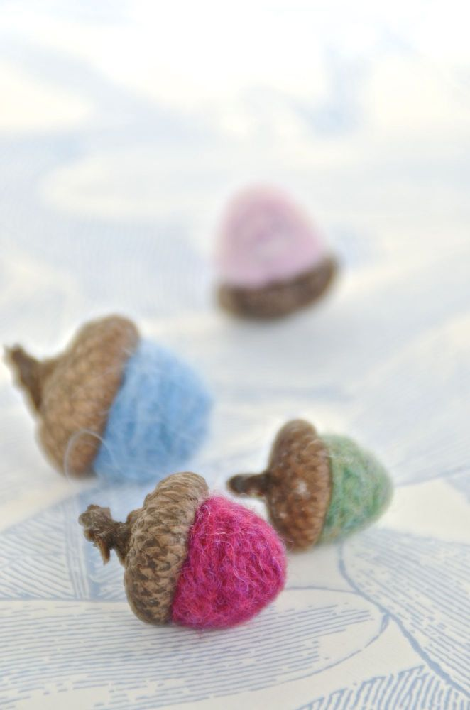 Scrap Yarn Felted Acorns