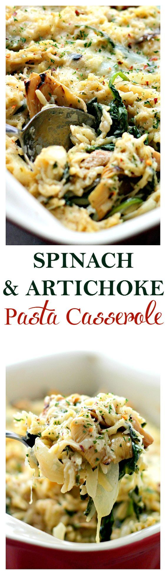 Spinach and Artichoke Pasta Alfredo Casserole – Delicious vegetarian dinner with Spinach Artichokes and Orzo pasta mixed in a lightened-up homemade Alfredo Sauce.