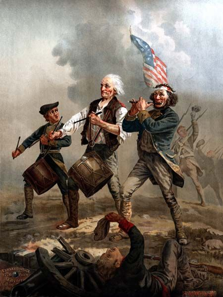 "Originally entitled Yankee Doodle, this scene painted by A. M. Willard is one of the most famous images relating to the American Revolutionary War. The life-sized original of ""Spirit of '76"" hangs in Abbot Hall in Marblehead, Massachusetts. (The Cowpens Flag is boldly flying.)"