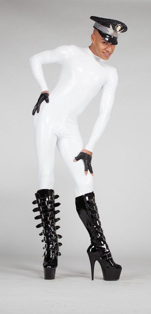 Men's Latex Look PVC Catsuit in White