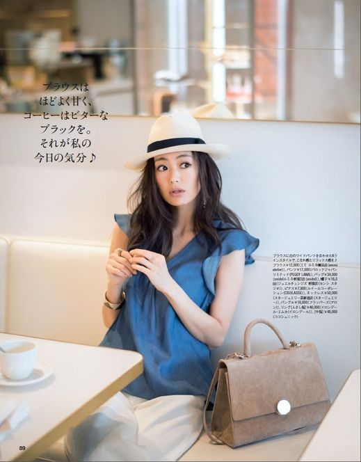 #anecan #fashion #有村実樹 #ラッフル袖 #ブラウス #ブルー