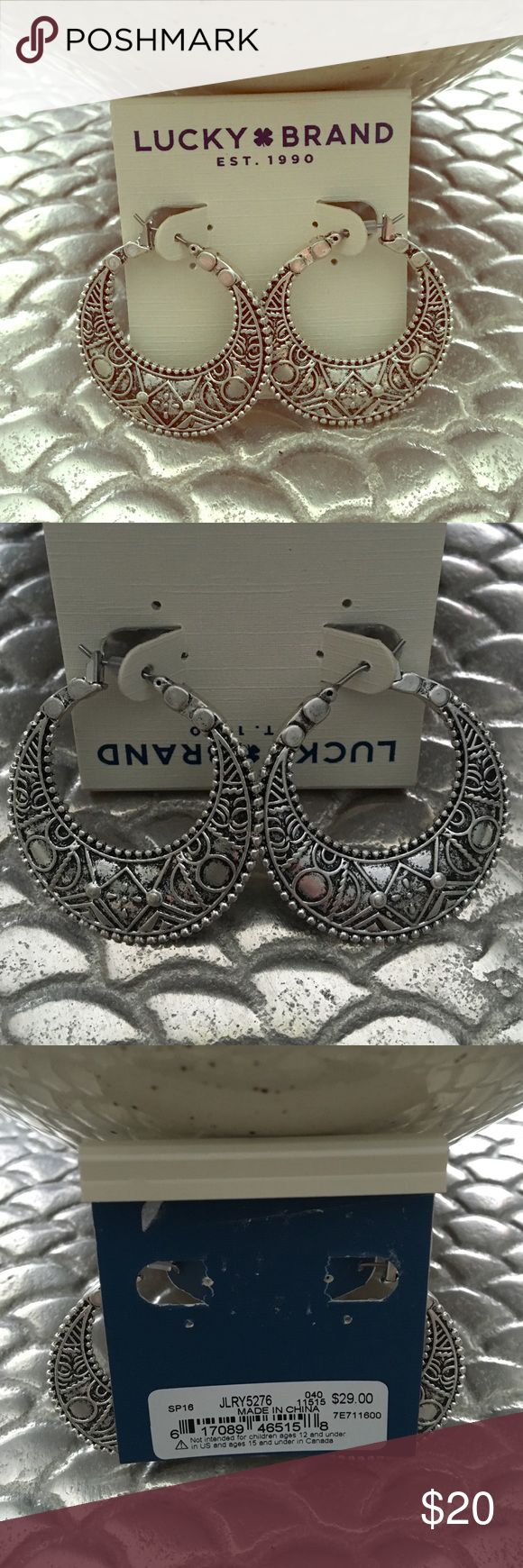 """LuckyBrand Hoop Earrings ☘ New earrings measures 2 1/2"""" .. Very cute. Just to many earrings not enough places to wear them.  thanks for stopping by. Lucky Brand Jewelry Earrings"""