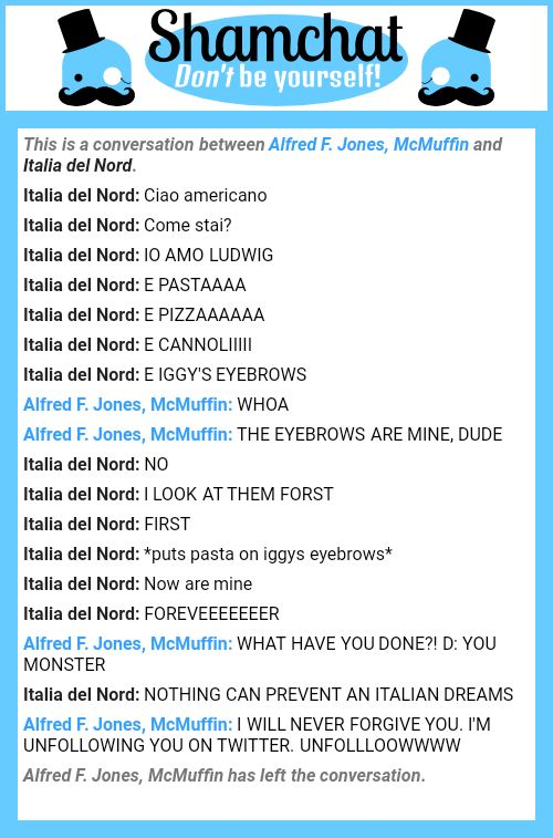 A conversation between Italia del Nord and Alfred F. Jones, McMuffin