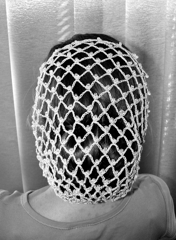 Crochet Net : Crochet hair net interspersed with glass beads.