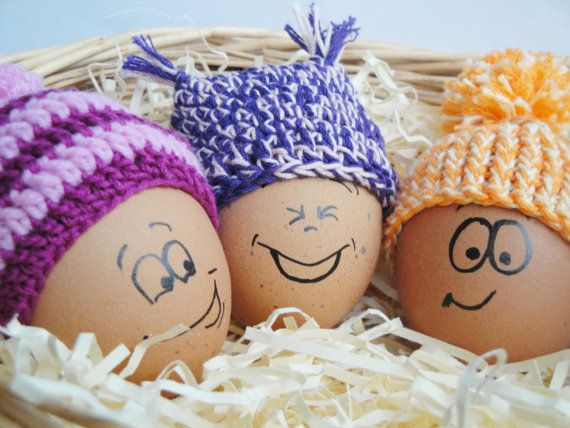 Crochet Easter eggs hats Crochet set 5 pcs by Crochetpumpkin