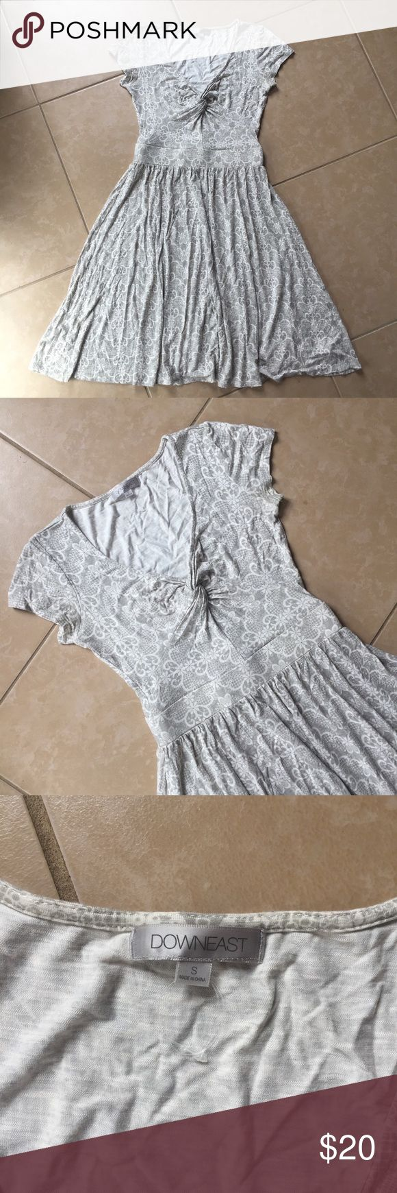 Downeast Basics grey print jersey knit dress Gorgeous lace print knit dress by Downeast Basics. Size S. Excellent condition, just very faint yellowing on underarms. Downeast Dresses