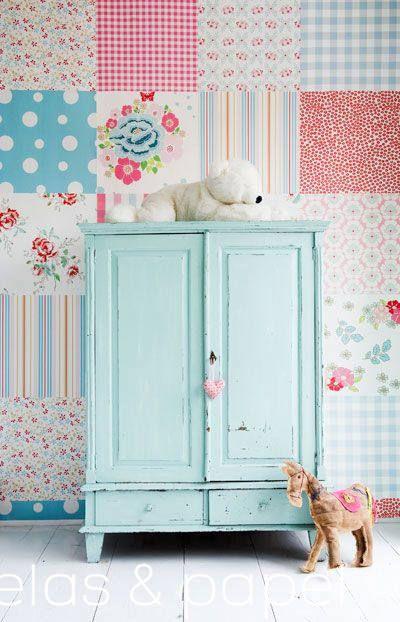 tienda online telas & papel | mural papel pintado patchwork girls