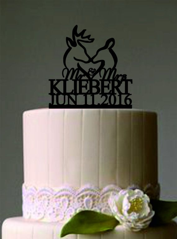 Deer Wedding Cake Topper  Country Wedding by caketoppersshop667
